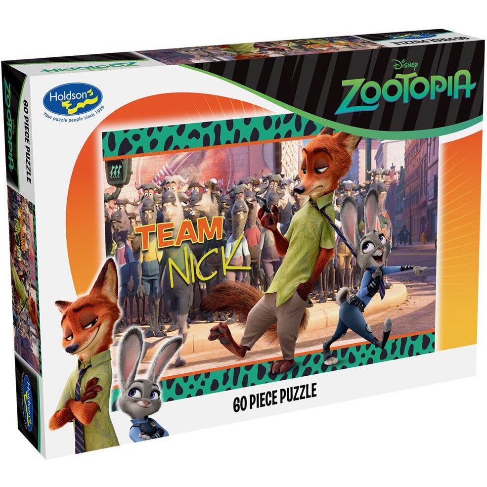 "Disney, Zootopia: Team Nick - 60 Pieces, Puzzle, Brand_Holdson, Category_Puzzle Kids, Pieces_60, Theme_Cartoon, Theme_Disney, ""board games"", ""Hobby Games"""