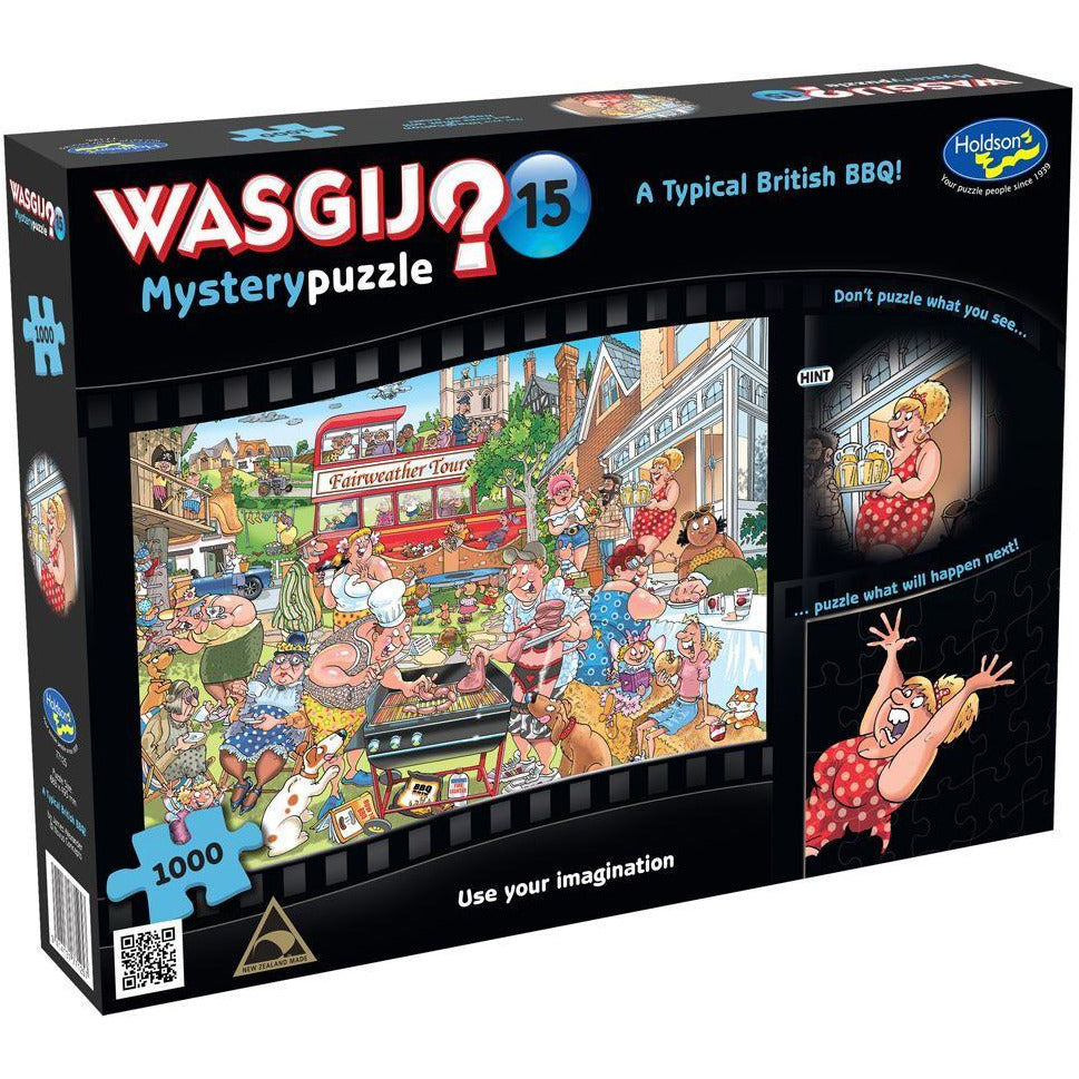 "WASGIJ Mystery 15: A Typical British BBQ! - 1000 pieces, Puzzle, Brand_Holdson, Category_Puzzle, Collection_WASGIJ, Pieces_1000, Theme_Cartoon, ""board games"", ""Hobby Games"", Hobby Games"