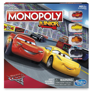 "Monopoly Junior: Cars 3 Edition, Board Game, Age_10+, Age_5+, Age_6+, Age_7+, Age_8+, Age_9+, Age_Adult, Age_Teen, Category_Childrens, Category_Family, Disney, Hasbro, Mechanic_Dice Rolling, Mechanic_Roll and Move, Mechanic_Set Collection, Monopoly, Pixar, ""board games"", ""Hobby Games"""