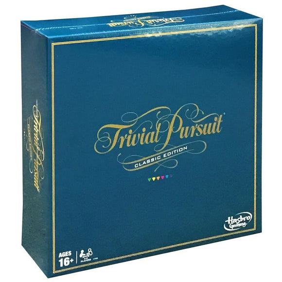 "Trivial Pursuit - Classic Edition, Board Game, Age_Adult, Age_Teen, Category_Party, Hasbro, Mechanic_Roll and Move, Mechanic_Set Collection, Mechanic_Trivia, ""board games"", ""Hobby Games"""