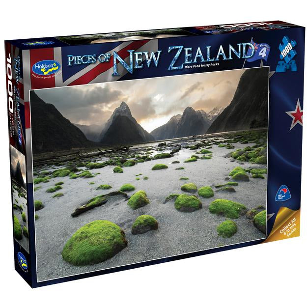 "Pieces of New Zealand: Mitre Peak Mossy Rocks - 1000 pieces, Puzzle, Brand_Holdson, Category_Puzzle, Collection_Pieces of New Zealand, Pieces_1000, Theme_Landscape, ""board games"", ""Hobby Games"", Hobby Games"