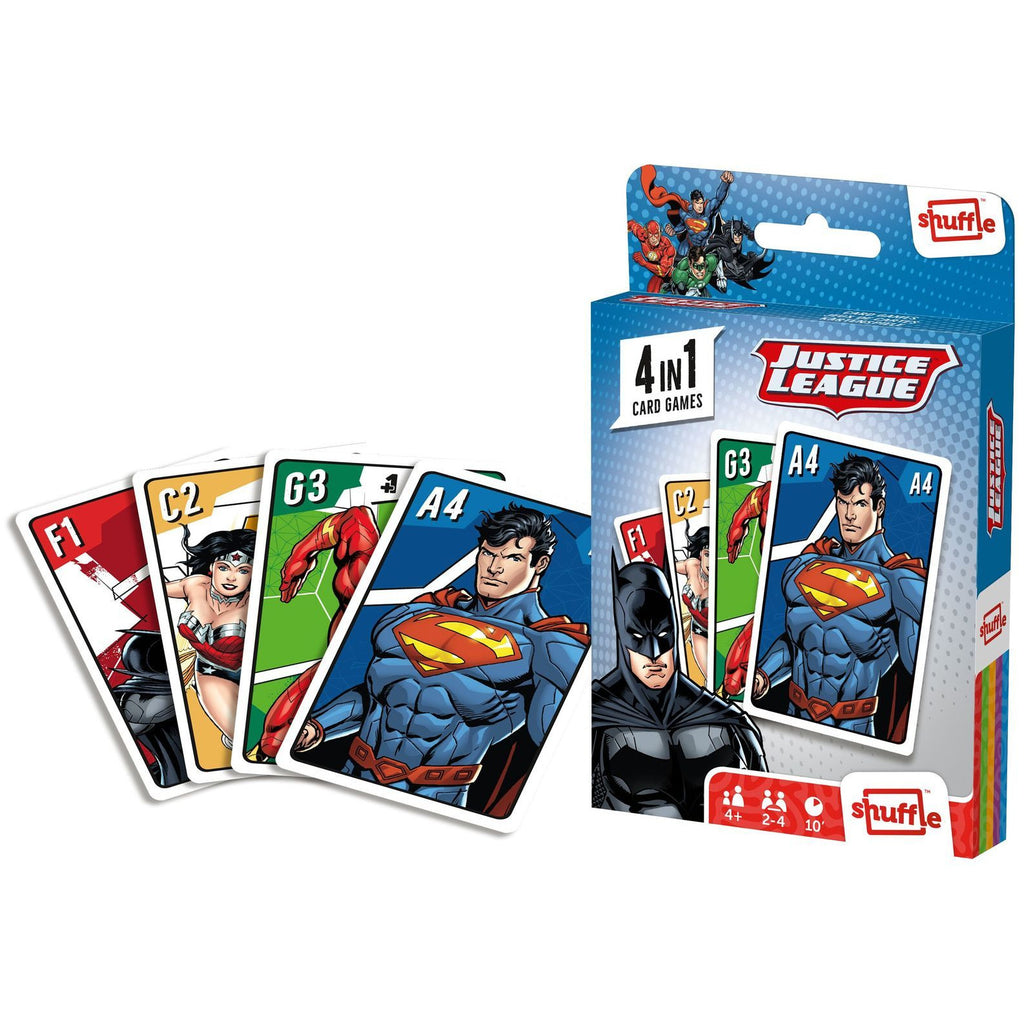 "Shuffle - 4 in 1 Justice League Card Game, Card Game, Age_Preschool, Cartamundi, DC, Mechanic_Deduction, Mechanic_Memory, Mechanic_Pattern Recognition, Mechanic_Set Collection, Shuffle, ""board games"", ""Hobby Games"", Hobby Games"
