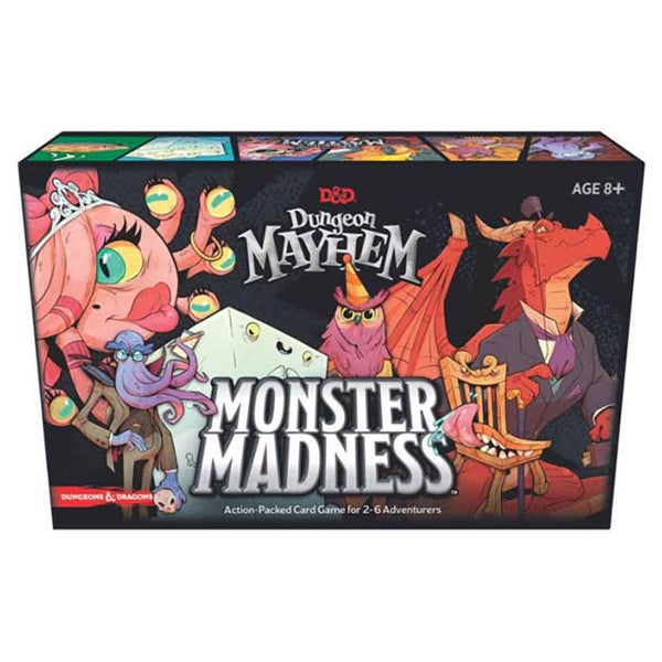 "Dungeon Mayhem: Monster Madness, Card Game, Age_8-10 years, Category_Family, Category_Stand Alone Expansion, D&D, Mechanic_Hand Management, Mechanic_Player Elimination, Mechanic_Variable Player Powers, ""board games"", ""Hobby Games"", Hobby Games"