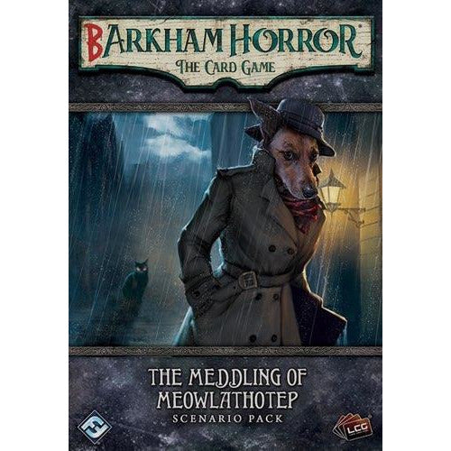 "Barkham Horror: The Meddling of Meowlathotep, Card Game, Age_Teens, Arkham Horror, Category_2 Player, Category_Expansion, Category_Solo, Category_Thematic, Fantasy Flight, Mechanic_Cooperative, Mechanic_Deck Building, Mechanic_Hand Management, Mechanic_Pool Building, Mechanic_Variable Player Powers, Mythos Pack, Role Playing Game, ""board games"", ""Hobby Games"", Hobby Games"