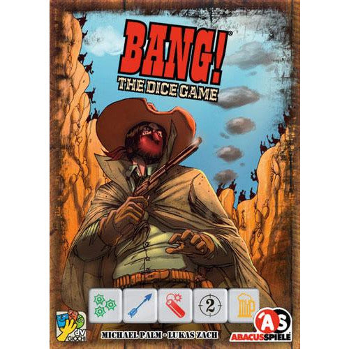 "Bang! The Dice Game, Dice Game, Age_10+, Age_8+, Age_9+, Age_Adult, Age_Teen, Category_Family, Category_Party, Lukas Zach, Mechanic_Bluffing, Mechanic_Deduction, Mechanic_Dice Rolling, Mechanic_Player Elimination, Mechanic_Variable Player Powers, Michael Palm, USAopoly, ""board games"", ""Hobby Games"""