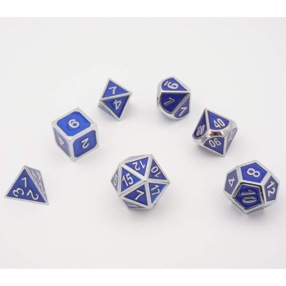"Metal blue - Polyhedral Dice Set, Dice, D&D, Dice Category_Polyhedral Dice Set, Role Playing Game, ""board games"", ""Hobby Games"""