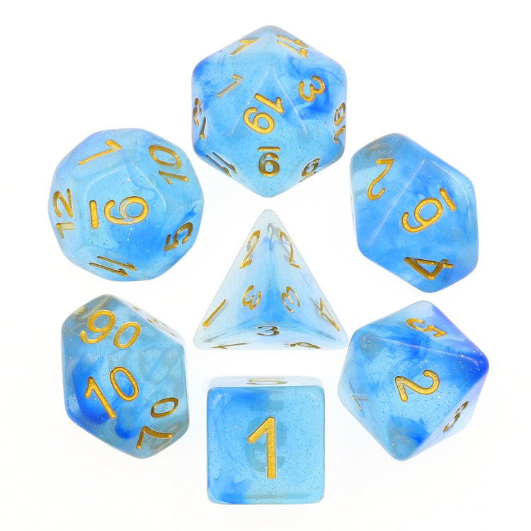"Blue Transparent Glitter - Polyhedral Dice Set, Dice, D&D, Dice Category_Polyhedral Dice Set, Role Playing Game, ""board games"", ""Hobby Games"", Hobby Games"