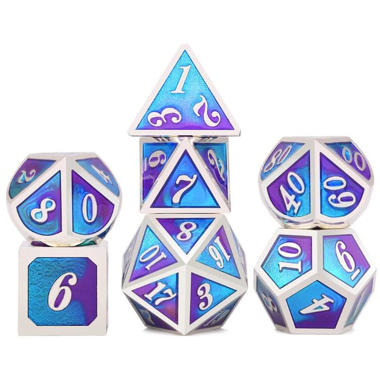 "Metal Blue/Purple - Polyhedral Dice Set, Dice, D&D, Dice Category_Polyhedral Dice Set, Role Playing Game, ""board games"", ""Hobby Games"", Hobby Games"