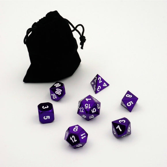 "Metal Purple - Polyhedral Dice Set, Dice, D&D, Dice Category_Polyhedral Dice Set, Role Playing Game, ""board games"", ""Hobby Games"""