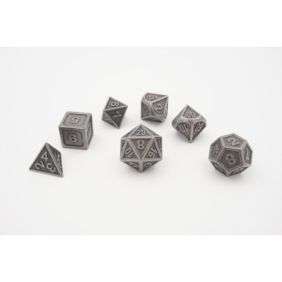 "Metal Ancient Silver - Polyhedral Dice Set, Dice, D&D, Dice Category_Polyhedral Dice Set, Role Playing Game, ""board games"", ""Hobby Games"""