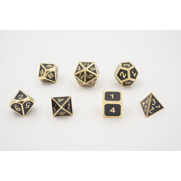 "Metal Black - Polyhedral Dice Set, Dice, D&D, Dice Category_Polyhedral Dice Set, Role Playing Game, ""board games"", ""Hobby Games"""