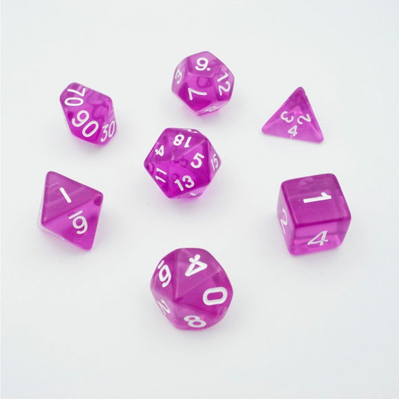 "Amethyst Rain Translucent - Polyhedral Dice Set, Dice, D&D, Dice Category_Polyhedral Dice Set, Role Playing Game, ""board games"", ""Hobby Games"""
