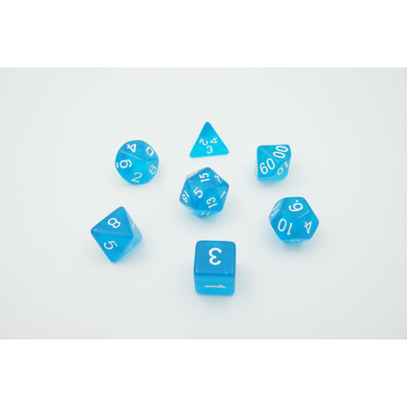 "Translucent Sky - Polyhedral Dice Set, Dice, D&D, Dice Category_Polyhedral Dice Set, Role Playing Game, ""board games"", ""Hobby Games"""
