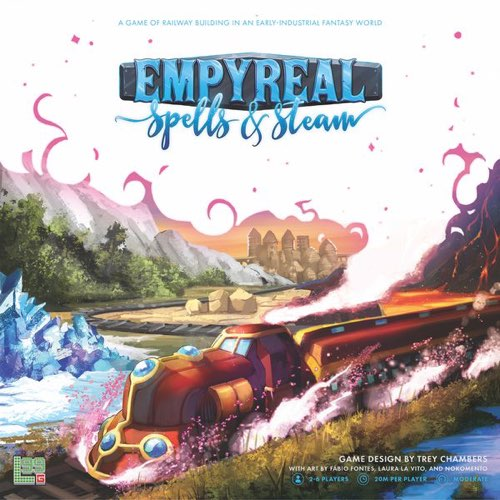 "Empyreal Spells & Steam, Board Game, Age_8-10 years, Category_Strategy, Eunice Abigael Tiu, Laura La Vito, Mechanic_Drafting, Mechanic_Modular Board, Mechanic_Pick-up and Deliver, Mechanic_Route Building, Trey Chambers, ""board games"", ""Hobby Games"", Hobby Games"