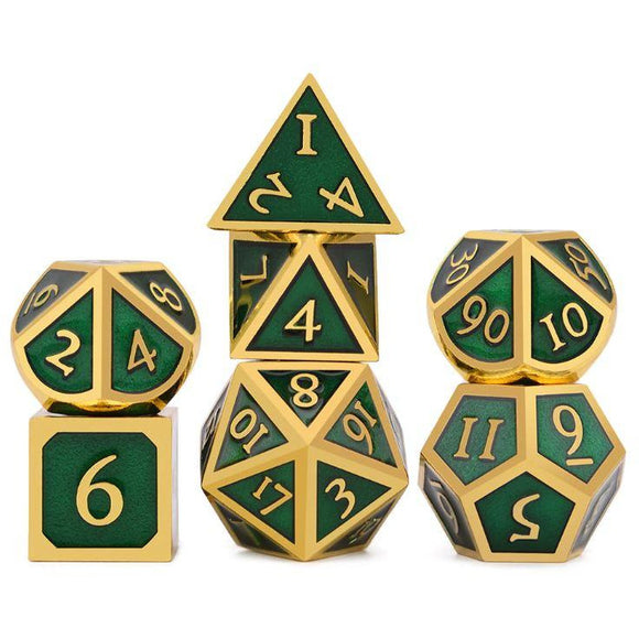 "Metal Green/Gold - Polyhedral Dice Set, Dice, D&D, Dice Category_Polyhedral Dice Set, Role Playing Game, ""board games"", ""Hobby Games"""