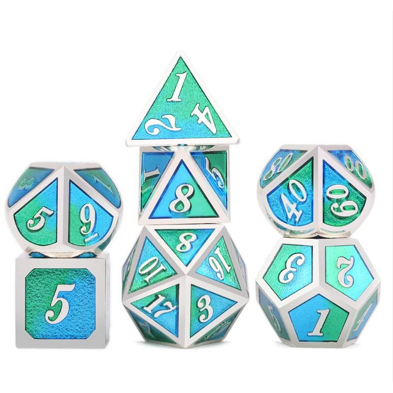 "Metal Blue/Green - Polyhedral Dice Set, Dice, D&D, Dice Category_Polyhedral Dice Set, Role Playing Game, ""board games"", ""Hobby Games"", Hobby Games"