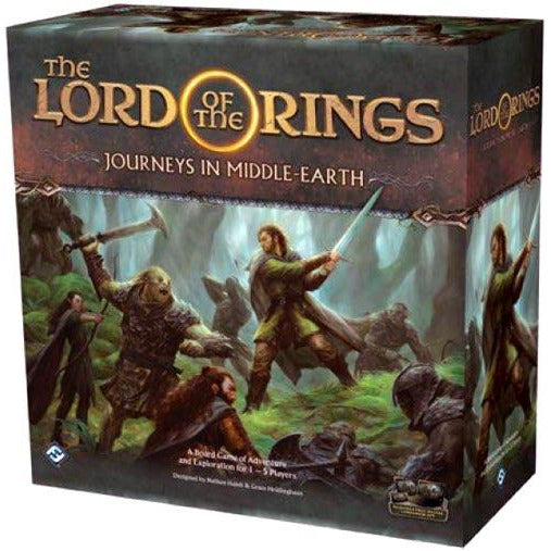 "Lord of the Rings: Journeys in Middle Earth, Board Game, Age_Teens, Category_Role Playing, Category_Solo, Category_Strategy, Category_Thematic, Fantasy Flight, Lord of the Rings, Mechanic_Cooperative, Mechanic_Deck Building, Mechanic_Modular Board, Mechanic_Pool Building, ""board games"", ""Hobby Games"""