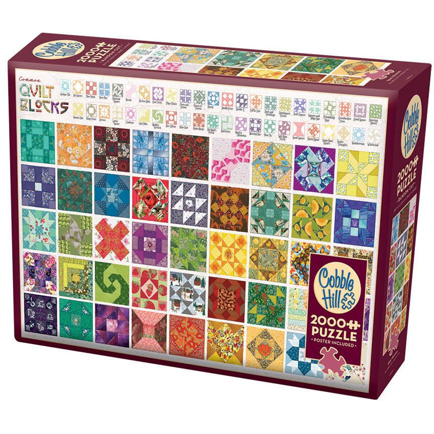 "Quilt Blocks - 2000 pieces, Puzzle, Brand_Cobble Hill, Category_Puzzle, Collection_Quilt, Pieces_2000, Theme_Colours, ""board games"", ""Hobby Games"", Hobby Games"