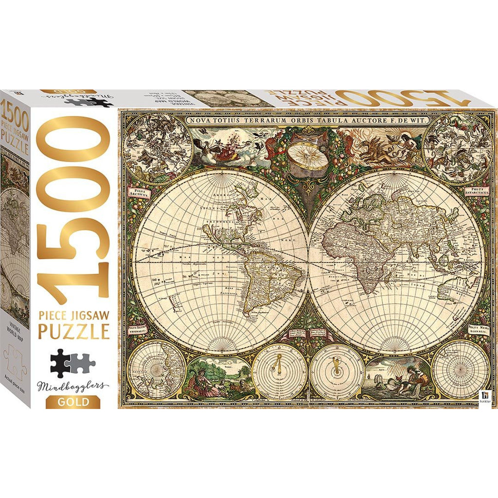 "Mindbogglers Gold, Vintage World Map - 1500 Pieces, Puzzle, Brand_Hinkler, Category_Puzzle, Collection_Mindbogglers Gold, Pieces_1500, Theme_Map, ""board games"", ""Hobby Games"", Hobby Games"