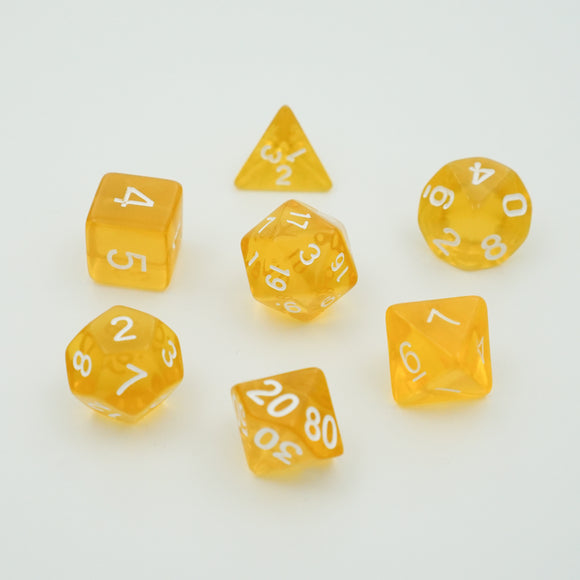 Lemon Splash Translucent - Polyhedral Dice Set
