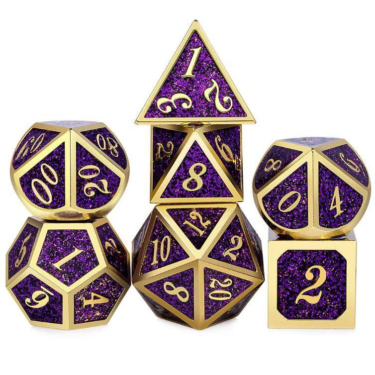 "Metal Purple Sparkles - Dice Set, Dice, D&D, Dice Category_Metal, Dice Category_Polyhedral Dice Set, Role Playing Game, ""board games"", ""Hobby Games"", Hobby Games"