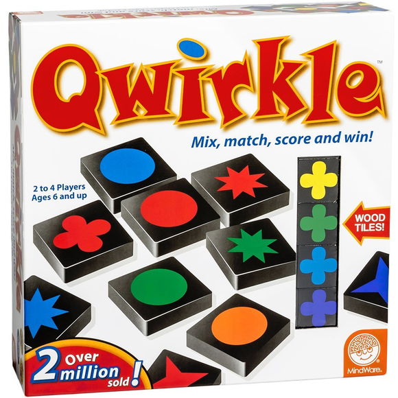 "Qwirkle, Board Game, Age_10+, Age_6+, Age_7+, Age_8+, Age_9+, Age_Adult, Age_Teen, Category_Abstract, Category_Family, Mechanic_Hand Management, Mechanic_Pattern Building, Mechanic_Tile Placement, ""board games"", ""Hobby Games"""