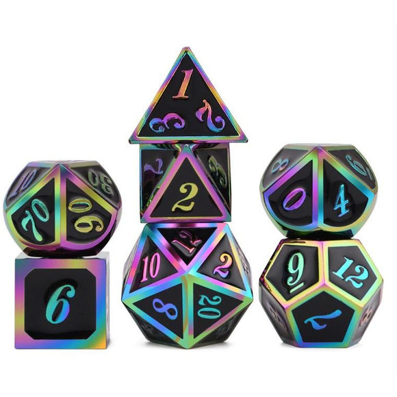Metal Rainbow Black - Polyhedral Dice Set