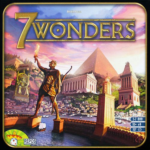 "7 Wonders, Board Game, 7 Wonders, Age_8-10 years, Antoine Bauza, Category_Family, Category_Strategy, Mechanic_Drafting, Mechanic_Hand Management, Mechanic_Set Collection, Mechanic_Variable Player Powers, Seven Wonders, ""board games"", ""Hobby Games"""