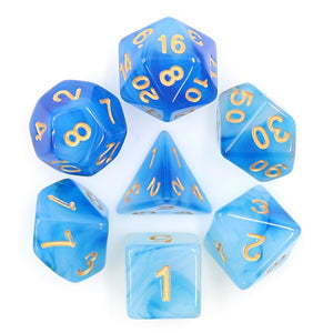 "Azure Sky - Polyhedral Dice Set, Dice, D&D, Dice Category_Polyhedral Dice Set, Role Playing Game, ""board games"", ""Hobby Games"""