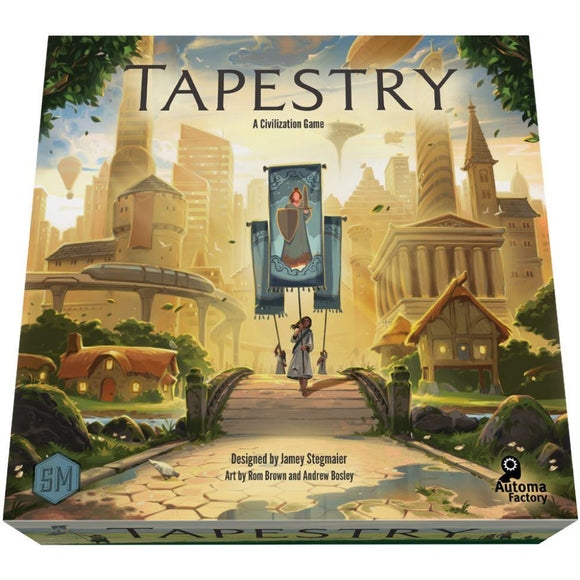 "Tapestry, Board Game, Age_Adult, Age_Teen, Category_Solo, Category_Strategy, Jamey Stegmaier, Mechanic_City Building, Mechanic_Hand Management, Mechanic_Tile Placement, Mechanic_Variable Player Powers, ""board games"", ""Hobby Games"""