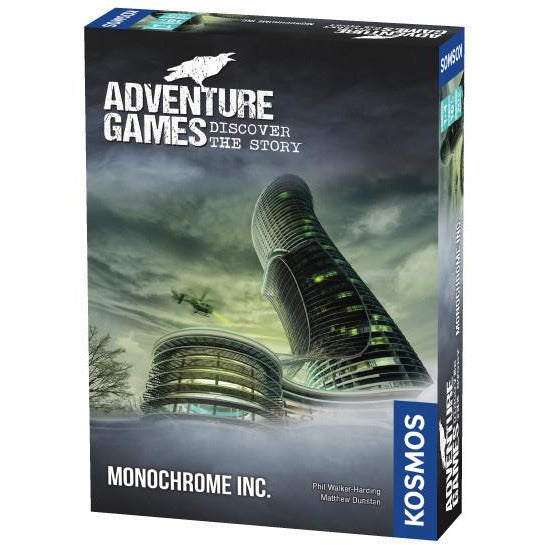 "Adventure Games Monochrome Inc, Board Game, Age_Adults, Category_Escape Room, Category_Thematic, Matthew Dunstan, Maximilian Schiller, Mechanic_Cooperative, Phil Walker-Harding, ""board games"", ""Hobby Games"", Hobby Games"