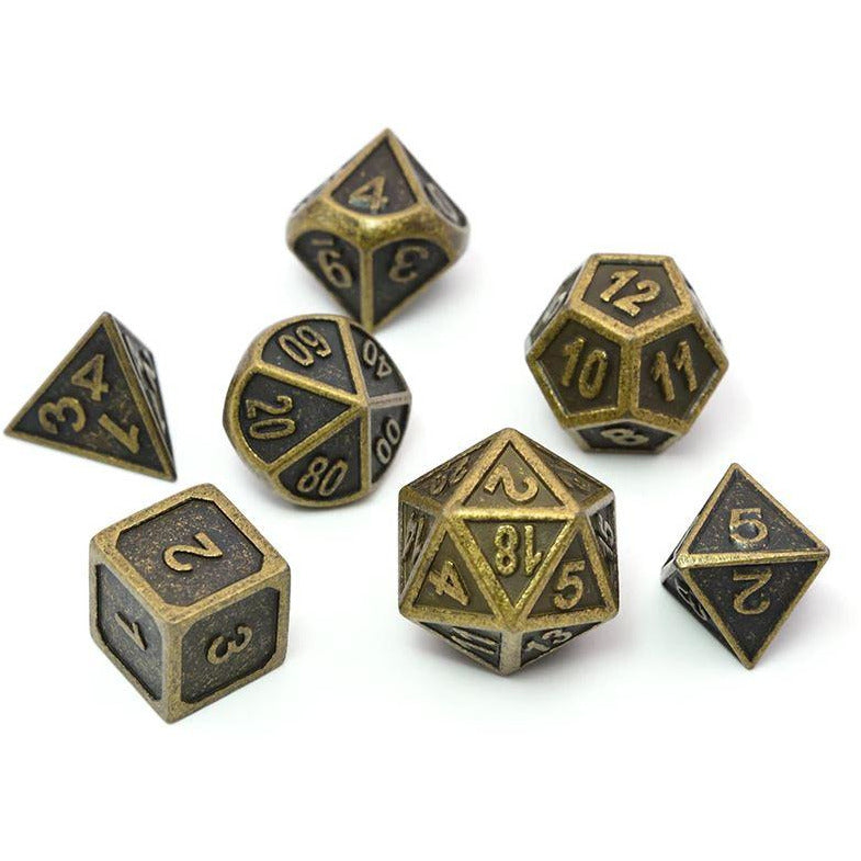 "Metal Ancient Gold - Dice Set, Dice, D&D, Dice Category_Metal, Dice Category_Polyhedral Dice Set, Role Playing Game, ""board games"", ""Hobby Games"", Hobby Games"