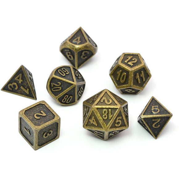 Metal Ancient Gold - Polyhedral Dice Set