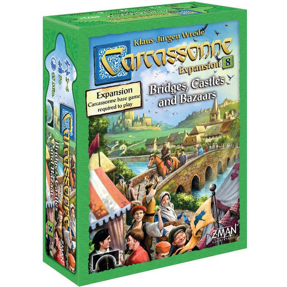 "Carcassonne Expansion 8 Bridges, Castles and Bazaars, Board Game, Age_10+, Age_7+, Age_8+, Age_9+, Age_Adult, Age_Teen, Carcassonne, Category_Expansion, Category_Family, Category_Strategy, Klaus-Jürgen Wrede, Mechanic_Area Control, Mechanic_Pattern Building, Mechanic_Tile Placement, ""board games"", ""Hobby Games"""