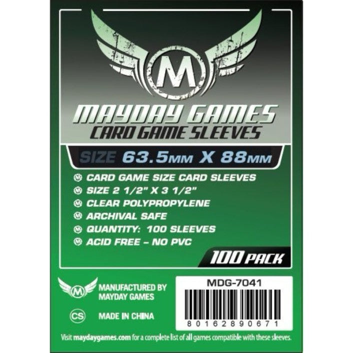 "Mayday - Card Game Sleeves (63.5mm x 88mm) - Green, Accessories, Category_Accessory, Category_Card Sleeves, Mayday, ""board games"", ""Hobby Games"", Hobby Games"