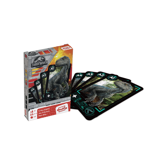 "Jurassic World Crazy Eights, Card Game, Age_10+, Age_4+, Age_5+, Age_6+, Age_7+, Age_8+, Age_9+, Age_Adult, Age_Teen, Hasbro, Mechanic_Deduction, Shuffle, ""board games"", ""Hobby Games"""