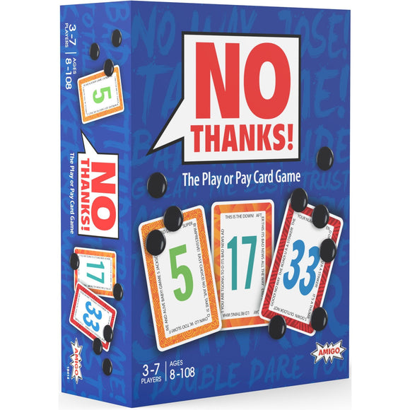 "No Thanks, Card Game, Age_10+, Age_8+, Age_9+, Age_Adult, Age_Teen, Category_Family, Mechanic_Bidding, Mechanic_Press Your Luck, Mechanic_Set Collection, ""board games"", ""Hobby Games"""