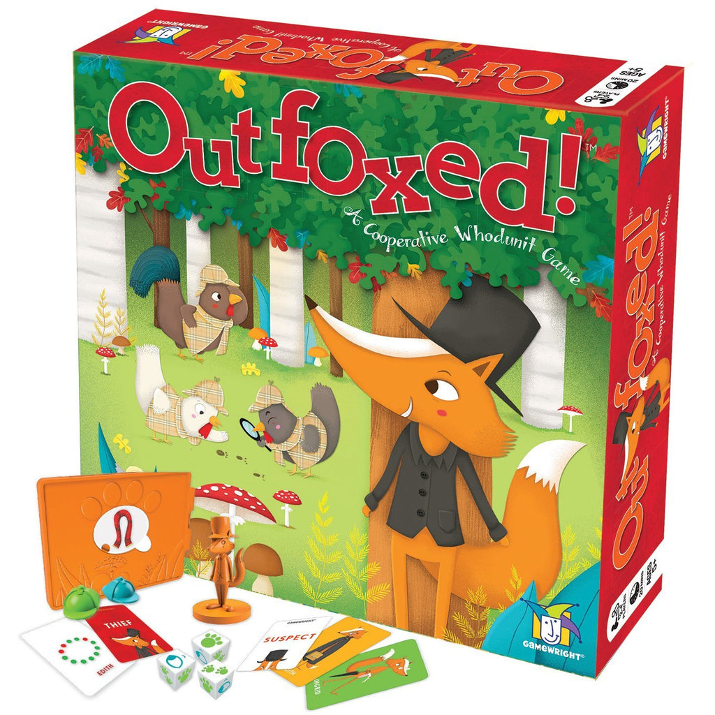 "Outfoxed!, Board Game, Age_5-7 years, Category_Childrens, Category_Cooperative, Gamewright, Marisa Pena, Mechanic_Cooperative, Mechanic_Deduction, Mechanic_Dice Rolling, Mechanic_Memory, Shanon Lyon, ""board games"", ""Hobby Games"", Hobby Games"
