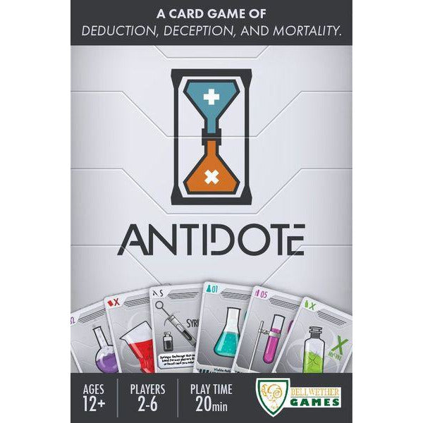 "Antidote, Board Game, Category_Family, Category_Party, Dennis Hoyle, Jonathan Logan Clark, Mechanic_Deduction, Mechanic_Hand Management, Mechanic_Simultaneous Play, Mechanic_Team Play, ""board games"", ""Hobby Games"", Hobby Games"