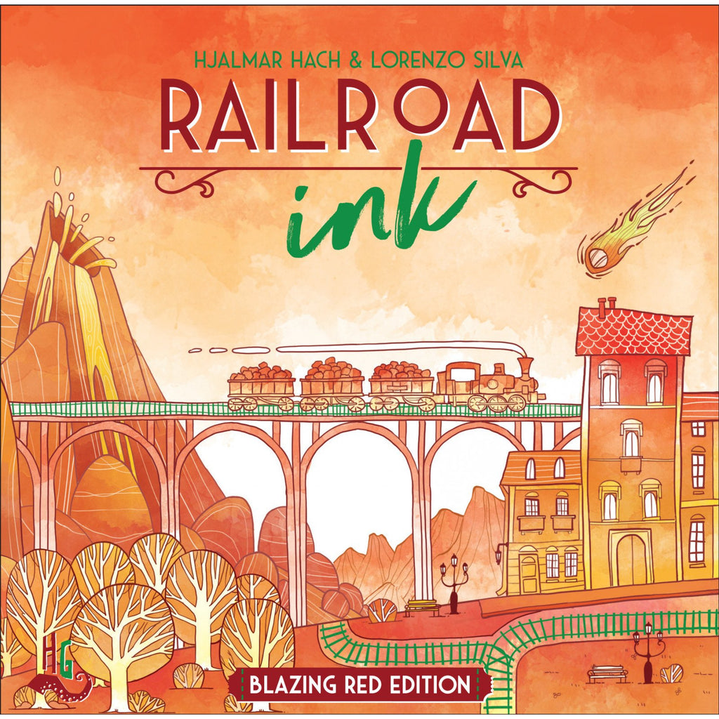 "Railroad Ink Blazing Red Edition, Board Game, Age_8-10 years, Category_Roll and Write, Hjalmar Hach, Lorenzo Silva, Mechanic_Route Building, ""board games"", ""Hobby Games"", Hobby Games"