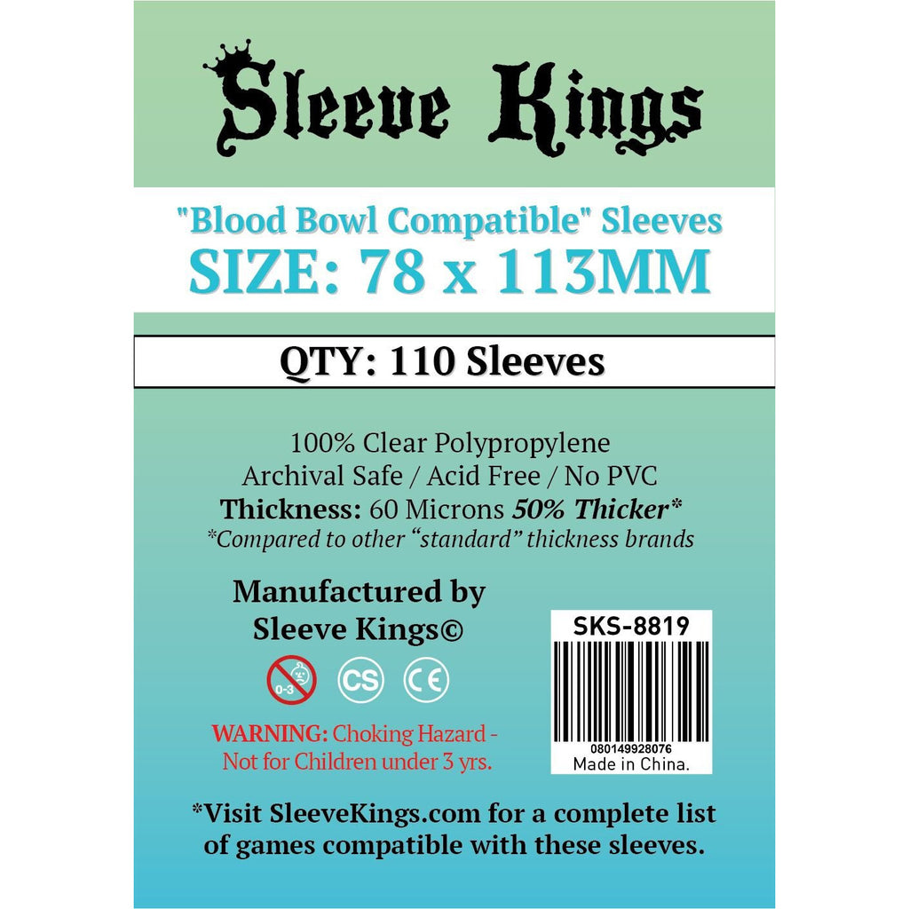 "Sleeve Kings Board Game Sleeves ""Blood Bowl Compatible"" (78mm x 113mm) - SKS-8819, Accessories, Category_Accessory, Category_Card Sleeves, Sleeve Kings, ""board games"", ""Hobby Games"", Hobby Games"
