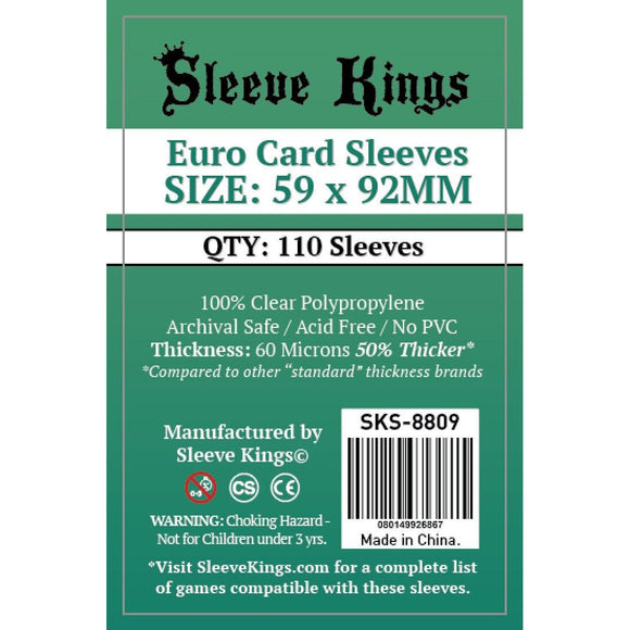 "Sleeve Kings Board Game Sleeves Euro Game (59mm x 92mm) - SKS-8809, Accessories, Category_Accessory, Category_Card Sleeves, Sleeve Kings, ""board games"", ""Hobby Games"""