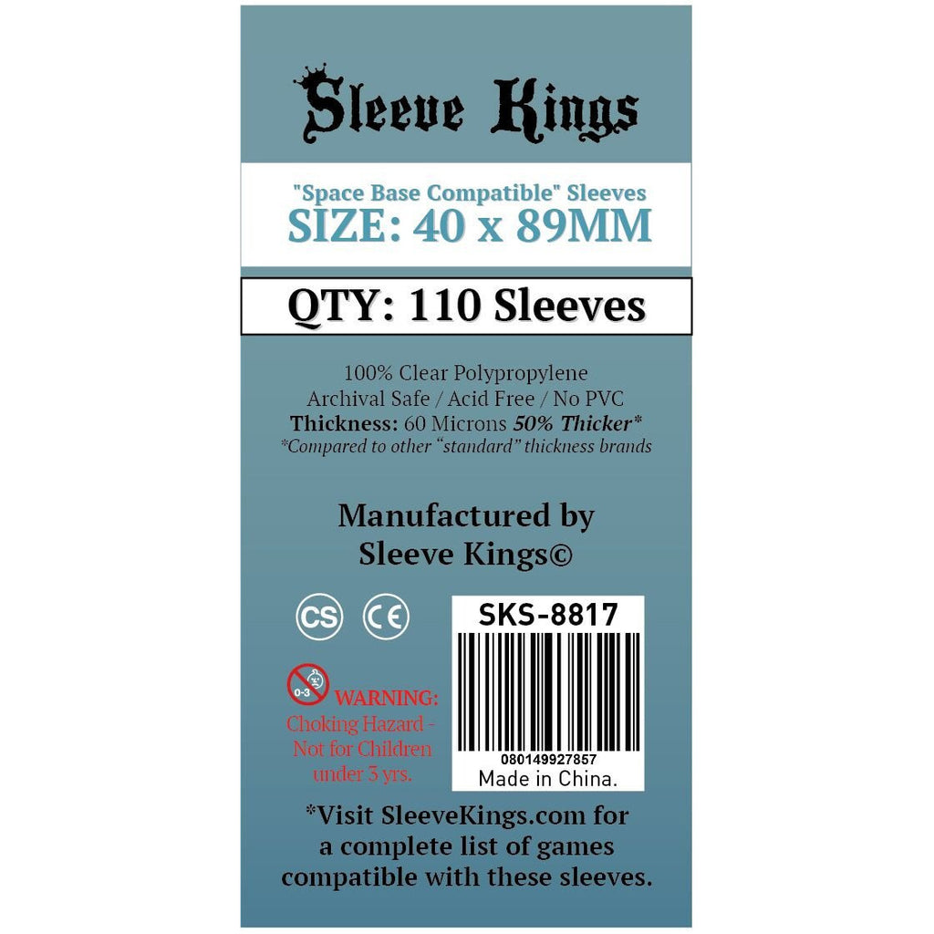 "Sleeve Kings Board Game Sleeves ""Space Base Compatible"" (40mm x 89mm) - SKS-8817, Accessories, Category_Accessory, Category_Card Sleeves, Sleeve Kings, ""board games"", ""Hobby Games"", Hobby Games"
