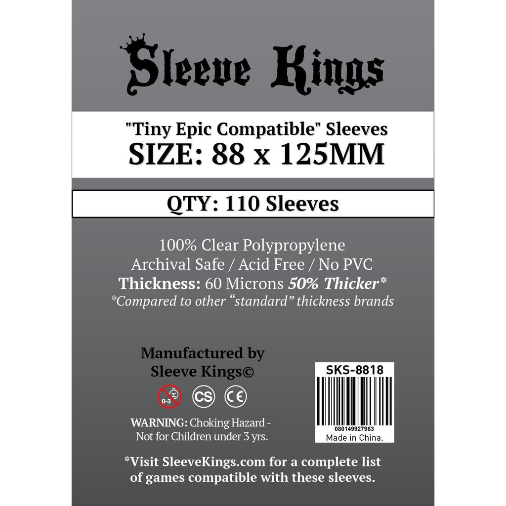 "Sleeve Kings Board Game Sleeves ""Tiny Epic Compatible"" (88mm x 125mm) - SKS-8818, Accessories, Category_Accessory, Category_Card Sleeves, Sleeve Kings, ""board games"", ""Hobby Games"", Hobby Games"