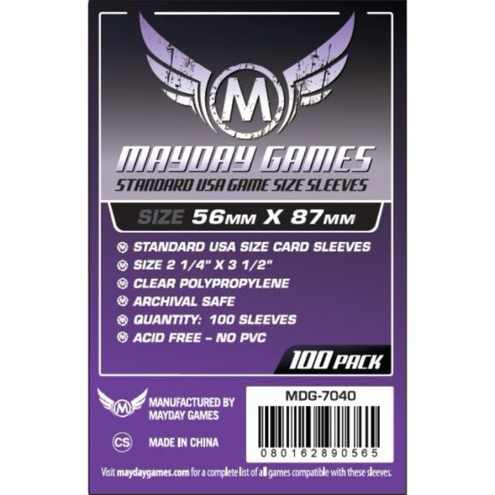 "Mayday - Standard USA sleeves (56mm x 87mm) - Purple, Accessories, Category_Accessory, Category_Card Sleeves, Mayday, ""board games"", ""Hobby Games"", Hobby Games"