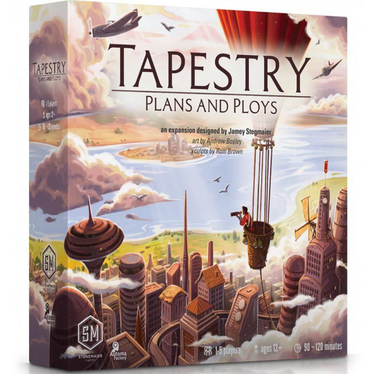 "Tapestry: Plans and Ploys Expansion, Board Game, Age_Teens, Category_Expansion, Category_Solo, Category_Strategy, Jamey Stegmaier, Mechanic_City Building, Mechanic_Hand Management, Mechanic_Tile Placement, Mechanic_Variable Player Powers, ""board games"", ""Hobby Games"", Hobby Games"
