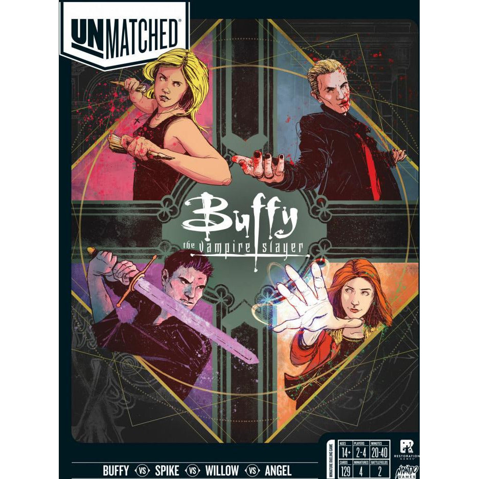 "Unmatched - Buffy the Vampire Slayer - Preorder, Board Game, Age_8-10 years, Category_2 Player, Category_Minatures, Category_Pop Culture, Category_Strategy, Justin D. Jacobson, Mechanic_Hand Management, Mechanic_Variable Player Powers, Oliver Barrett, R Honeycutt, Restoration Games, Rob Daviau, Unmatched, ""board games"", ""Hobby Games"", Hobby Games"