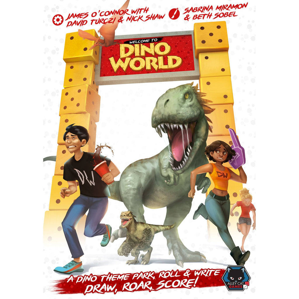 "Welcome to Dino World, Board Game, Age_Teens, Alley Cat Games, Beth Sobel, Category_Family, Category_Roll and Write, Category_Solo, Dinosaur, Dávid Turczi, James O'Connor, Mechanic_Dice Rolling, Mechanic_Drawing, Mechanic_Roll and Write, Nick Shaw, Sabrina Miramon, ""board games"", ""Hobby Games"", Hobby Games"