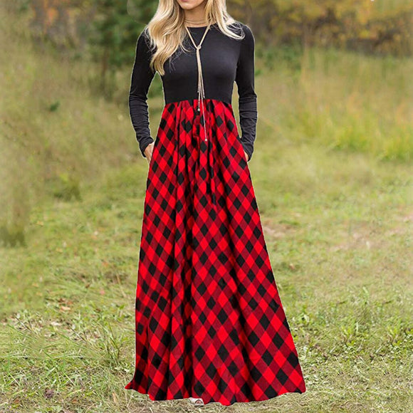 Plaid Long Maxi Dress with Pockets