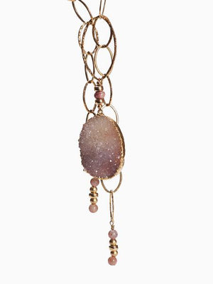 Sahara Dusk - Druzy Agate and Tourmaline Gold Necklace